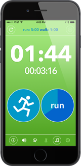 Easy Intervals timer screen